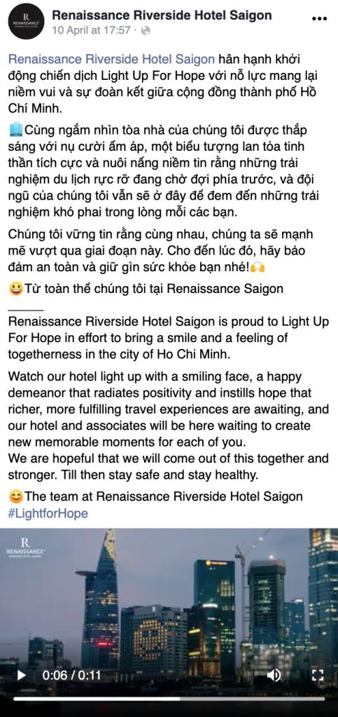 Chiến dịch Light For Hope tại khách sạn Renaissance Riverside Hotel Saigon